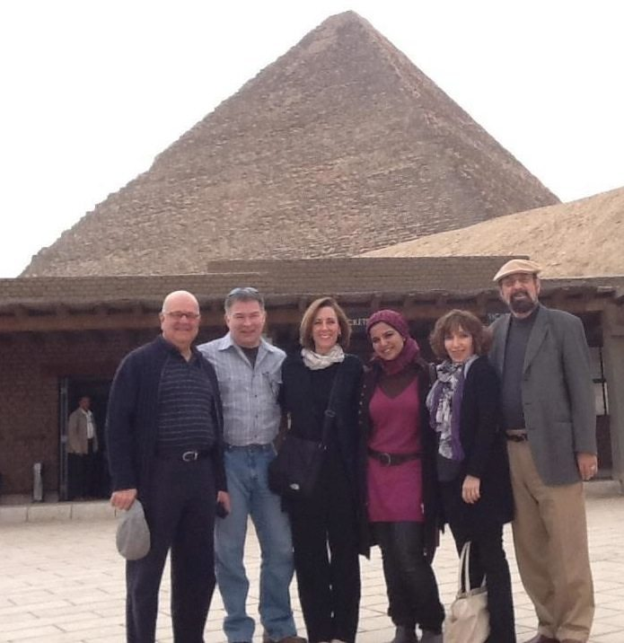 From left to right: Legacy Founder and President J.E. Rash, Legacy staff member Mitra Nafissian-Rash, Legacy alum Rania El-Khaffas, Karen McDonnell, Dr. Blaine Parrish, and Dr. Harold Robles