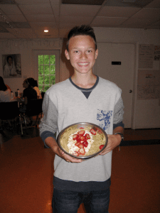 "During ""Discussion Night"" Frank shared that pasta with cottage cheese and strawberries is a popular dish in Poland.  Chef Ron decided to fix some for dinner the next night so the entire camp could try it!  Delicious!"